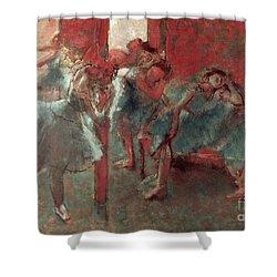 Dancers At Rehearsal Shower Curtain by Edgar Degas