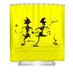 Dancing Couple 3 - Yellow Shower Curtain by Manuel Sueess