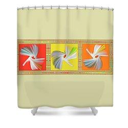 Dancing Flower Trio Shower Curtain by Ben and Raisa Gertsberg