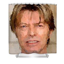 David Bowie Portrait Shower Curtain by Samuel Majcen