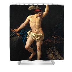 David Victorious Shower Curtain by Jean Jacques II Lagrenee