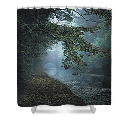 Dawn On The Canal Shower Curtain by Chris Fletcher