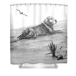 Day At The Beach Shower Curtain by Murphy Elliott