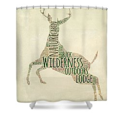 Deer Leaping Shower Curtain by Brandi Fitzgerald