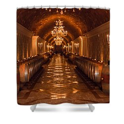Del Dotto Wine Cellar Shower Curtain by Scott Campbell