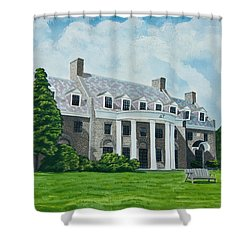 Delta Upsilon Shower Curtain by Charlotte Blanchard