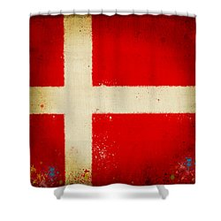 Denmark Flag Shower Curtain by Setsiri Silapasuwanchai