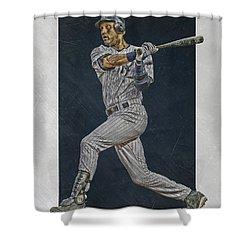Derek Jeter New York Yankees Art 2 Shower Curtain by Joe Hamilton