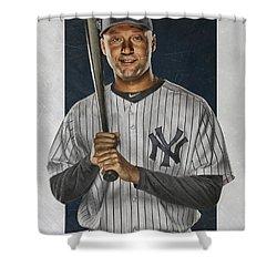 Derek Jeter New York Yankees Art Shower Curtain by Joe Hamilton