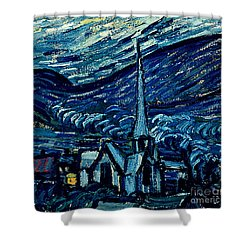 Detail Of The Starry Night Shower Curtain by Vincent Van Gogh
