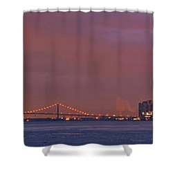 Detroit Skyline Shower Curtain by Michael Peychich