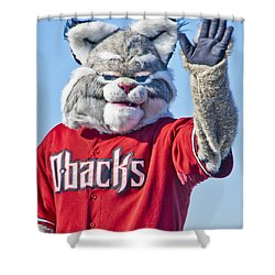 Diamondbacks Mascot Baxter Shower Curtain by Jon Berghoff