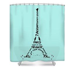 Digital-art Eiffel Tower Shower Curtain by Melanie Viola