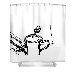 Diner Drawing Creamer 2 Shower Curtain by Chad Glass
