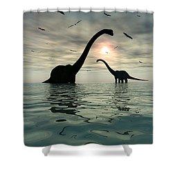 Diplodocus Dinosaurs Bathe In A Large Shower Curtain by Mark Stevenson