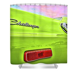 Dodge Challenger In Sublime Green Shower Curtain by Gordon Dean II