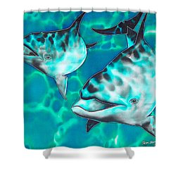 Dolphins Of Sanne Bay Shower Curtain by Daniel Jean-Baptiste