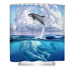Dolphonic Symphony Shower Curtain by Jerry LoFaro