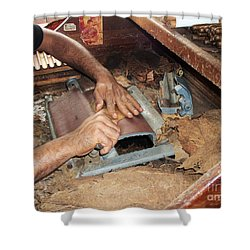 Dominican Cigars Made By Hand Shower Curtain by Heather Kirk