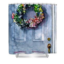 Door Wreath Shower Curtain by John D Benson