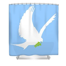 Dove And Olive Branch Shower Curtain by Colette Scharf