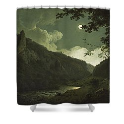 Dovedale By Moonlight Shower Curtain by Joseph Wright of Derby