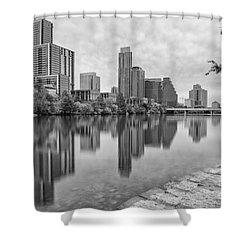 Downtown Austin In Black And White Across Lady Bird Lake - Colorado River Texas Hill Country Shower Curtain by Silvio Ligutti