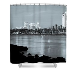 Downtown Tulsa Oklahoma - University Tower View - Black And White Shower Curtain by Gregory Ballos