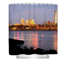 Downtown Tulsa Oklahoma - University Tower View Shower Curtain by Gregory Ballos