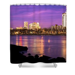 Downtown Tulsa Oklahoma - University Tower View - Purple Skies Shower Curtain by Gregory Ballos