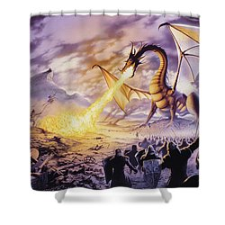 Dragon Battle Shower Curtain by The Dragon Chronicles - Steve Re