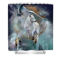 Dream Catcher - Spirit Of The White Wolf Shower Curtain by Carol Cavalaris