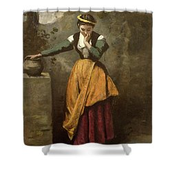 Dreamer At The Fountain Shower Curtain by Jean Baptiste Camille Corot