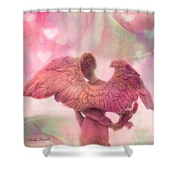 Dreamy Whimsical Pink Angel Wings With Hearts Shower Curtain by Kathy Fornal