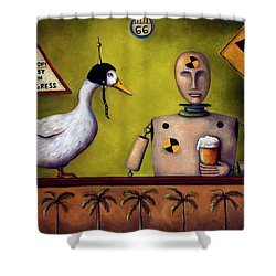 Drink Test Dummy Shower Curtain by Leah Saulnier The Painting Maniac