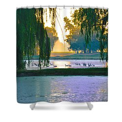 Duck Pond At Dawn Shower Curtain by Bill Cannon