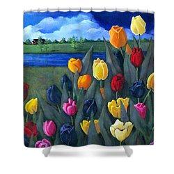 Dutch Tulips With Landscape Shower Curtain by Joyce Geleynse