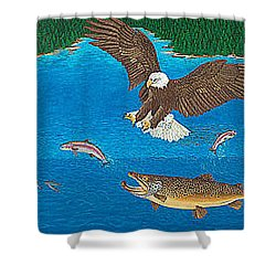 Eagle Trophy Brown Trout Rainbow Trout Art Print Blue Mountain Lake Artwork Giclee Birds Wildlife Shower Curtain by Baslee Troutman