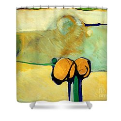 Early Blob 2 Jump Rope Shower Curtain by Marlene Burns