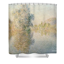 Early Morning On The Seine At Giverny Shower Curtain by Claude Monet