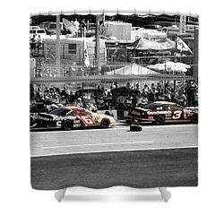 Earnhardt And Martin In The Pits Shower Curtain by John Black