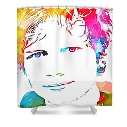Ed Sheeran Paint Splatter Shower Curtain by Dan Sproul