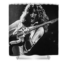 Eddie Van Halen - Black And White Shower Curtain by Tom Carlton