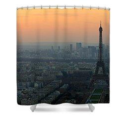 Eiffel Tower At Dusk Shower Curtain by Sebastian Musial