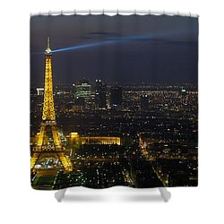 Eiffel Tower At Night Shower Curtain by Sebastian Musial