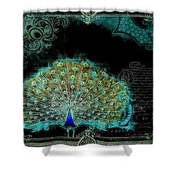 Elegant Peacock W Vintage Scrolls 3 Shower Curtain by Audrey Jeanne Roberts
