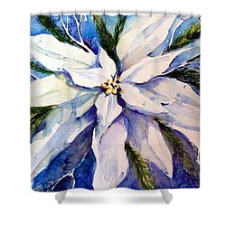 Elegant White Christmas Shower Curtain by Mindy Newman