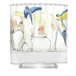 Elephant And Parrots Shower Curtain by Juan Bosco