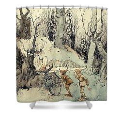 Elves In A Wood Shower Curtain by Arthur Rackham