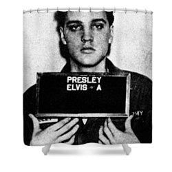 Elvis Presley Mug Shot Vertical 1 Shower Curtain by Tony Rubino
